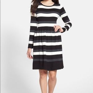 Vince Camuto- stripped long sleeve dress.
